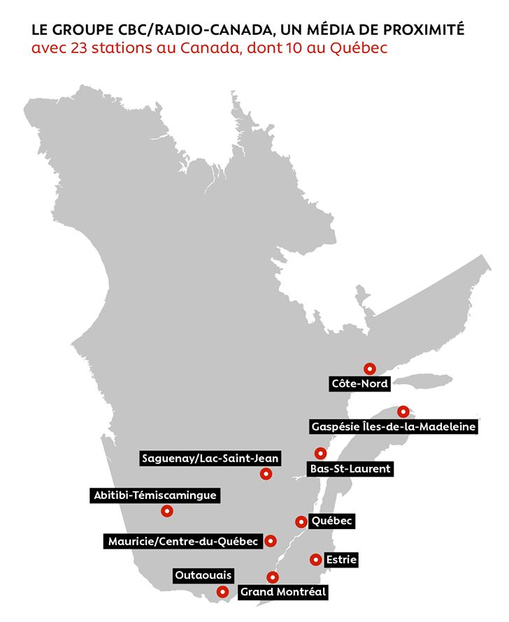 LE GROUPE CBC/RADIO-CANADA, UN MÉDIA DE PROXIMITÉ avec 23 stations au Canada, dont 10 au Québec