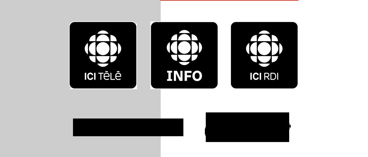 ICI TÉLÉ, INFO, ICI RDI, Radio-Canada.ca et Radio-Canada OHdio