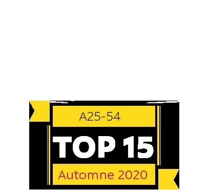 A25-54 Top 15 Automne 2020