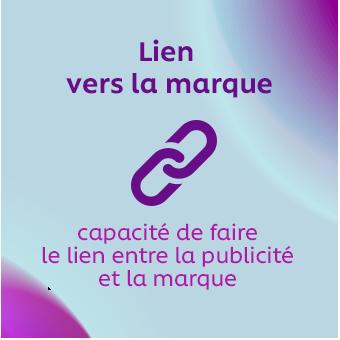 Lien vers la marque – capacité de faire le lien entre la publicité et la marque