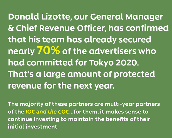 Donald Lizotte, our General Manager & Chief Revenue Officer, has confirmed that his team has already secured nearly 70% of the advertisers who had committed for Tokyo 2020. That's a large amount of protected revenue for the next year.